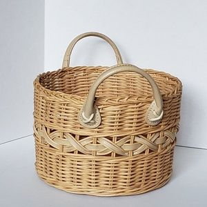 Other - Woven Leather Handle Basket